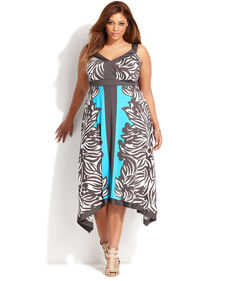 INC International Concepts Plus Size Sleeveless Leaf-Print Colorblocked Dress