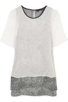 Tibi Nelio double-layered printed silk top