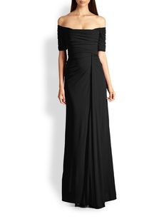 Badgley Mischka Off-Shoulder Jersey Gown