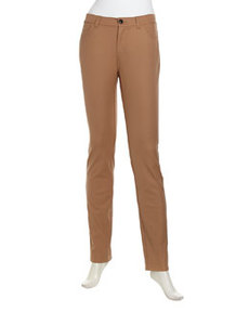 Lafayette 148 New York Curvy Slim-Leg Stretch-Knit Jeans, Teak