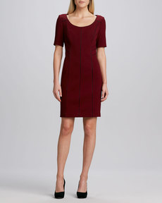 Kay Unger New York Seamed Keyhole-Back Sheath Dress