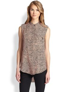 Robert Rodriguez Cheetara Draped Silk Shirt