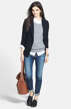 James Perse Jacket, Hinge® Pullover & AG Jeans 'The Stilt' Cigarette Leg Jeans