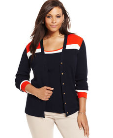 Jones New York Signature Plus Size Long-Sleeve Colorblocked Cardigan