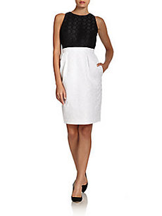 Carmen Marc Valvo Colorblock Jacquard Sheath Dress