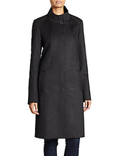 Saks Fifth Avenue BLACK Wool & Cashmere Melange Swing Coat