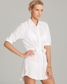 Tommy Bahama Eyelet Covers Boyfriend Tie Shirt Swim Cover Up