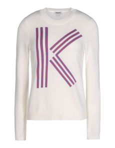 KENZO Logo detail Lightweight sweater Solid color Round collar Long sleeves Knitted not made of fur Long sleeves