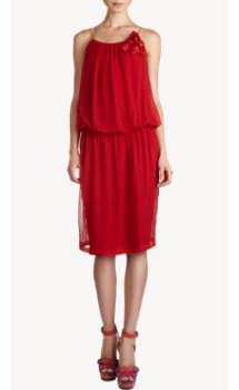 Lanvin Floral Shoulder Spaghetti Strap Dress