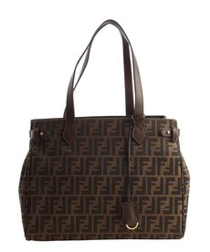 Fendi brown zucca pattern canvas shopper tote