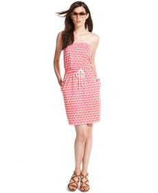 Tommy Hilfiger Strapless Anchor-Print Drawstring Dress