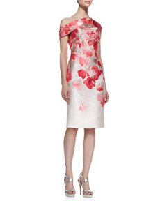 Floral Off-Shoulder Sheath Dress   Floral Off-Shoulder Sheath Dress