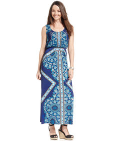 Style&co. Petite Sleeveless Printed Studded Maxi Dress