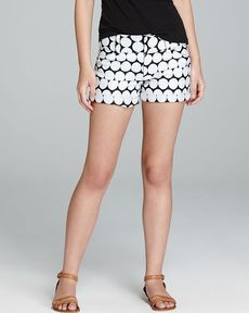 Alice + Olivia Shorts - Cropped Cuff Dot Print