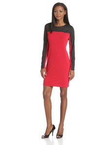 Calvin Klein Women's Woven-Sleeve Dress