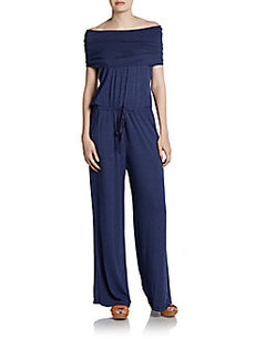 Max Studio Off-The-Shoulder Stretch-Jersey Jumpsuit