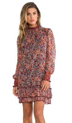 Anna Sui Pop Squares Printe Mesh and Mosaic Flora Print Crinkle Chiffon Long Sleeve Dress in Burgundy