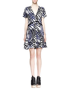 Printed V-Neck Dress, Blue/Black   Printed V-Neck Dress, Blue/Black
