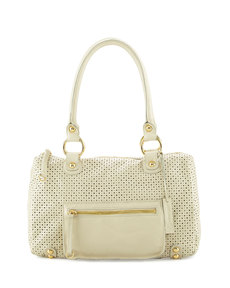 Linea Pelle Dylan Perforated Leather Duffle Bag, Bone