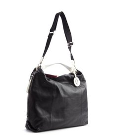 Furla black leather side zipper 'Elizabeth' convertible hobo bag