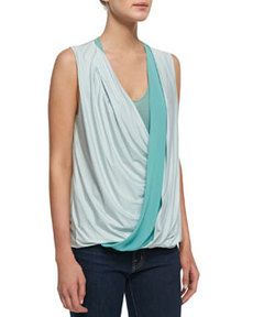 Robert Rodriguez Jersey Wrap-Stripe Sleeveless Top