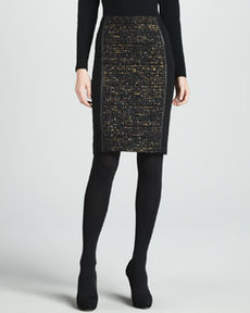 Lafayette 148 New York Christina Tweed-Panel Skirt