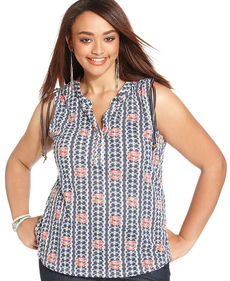 Lucky Brand Plus Size Sleeveless Printed Top