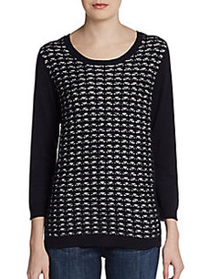 Ellen Tracy Lace Grid-Front Top