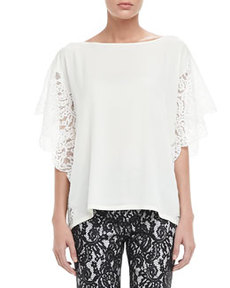 Cleo Lace-Sleeve Blouse   Cleo Lace-Sleeve Blouse