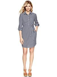 Gingham tie-waist shirtdress