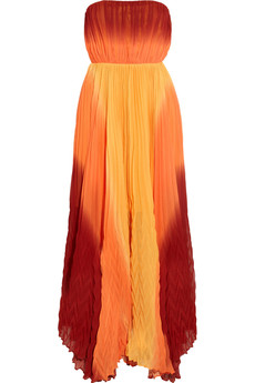 Alice + Olivia Uma ombré pleated silk maxi dress