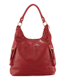 Linea Pelle Dylan Perforated Leather Hobo Bag, Poppy