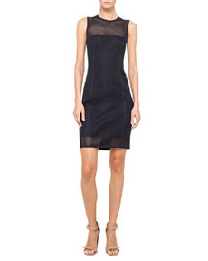 Sleeveless Mesh Sheath Dress, Navy   Sleeveless Mesh Sheath Dress, Navy