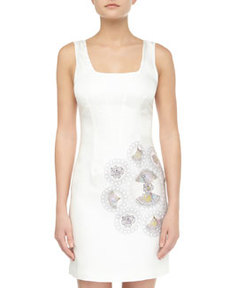 Cynthia Rowley Floral Faille Tank Dress, White
