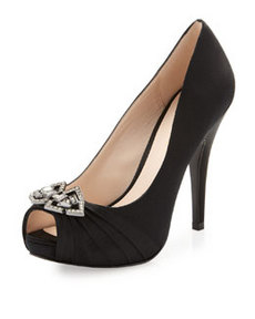 Pelle Moda Lauren Silk Peep-Toe Pump, Black