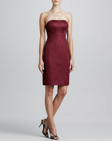 Kay Unger New York Jacquard Strapless Cocktail Dress