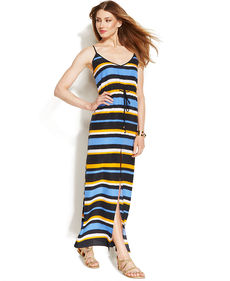 MICHAEL Michael Kors Petite Spaghetti-Strap Striped Maxi Dress