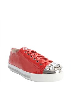 Miu Miu red leather jewel studded cap toe sneakers