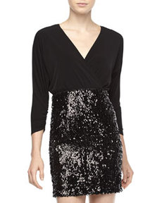 Laundry by Shelli Segal Surplice Top & Sequin-Skirt Dress, Black