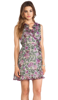 Anna Sui Sunflowers Print V Neck Dress in Purple