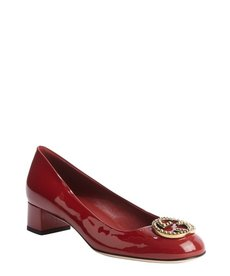 Gucci red patent leather double gg pumps