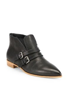 Miu Miu Leather Double-Strap Ankle Boots