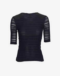 rag & bone Basha Leather Detail Lace Top