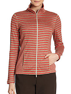 Lafayette 148 New York Mixed Stripe Track Zip-up