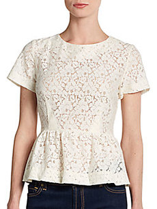 French Connection Lace Peplum Top