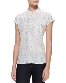 Cap-Sleeve Lace-Print Top   Cap-Sleeve Lace-Print Top