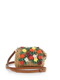 Dolce & Gabbana Mini Charles Raffia Flower Shoulder Bag