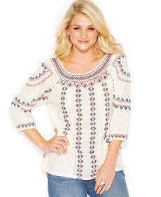 Lucky Brand Geo-Embroidered Peasant Top