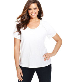 Jones New York Signature Plus Size Short-Sleeve Embellished Top