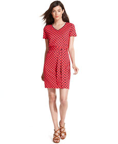 Tommy Hilfiger Short-Sleeve Geo-Print Belted Dress
